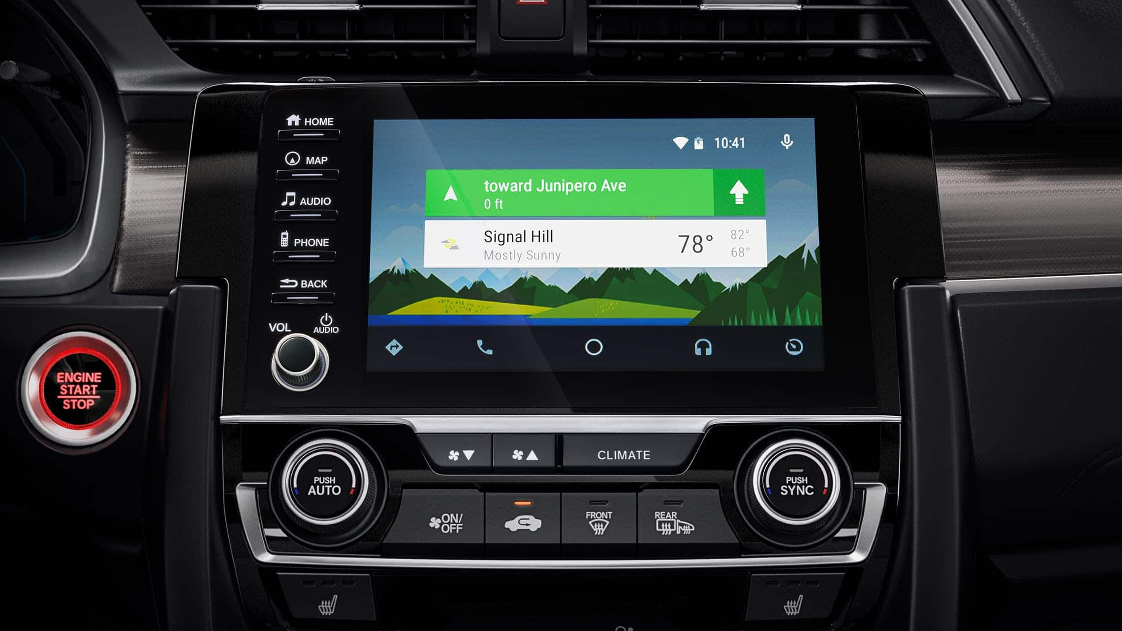 Android Auto™ detail on Display Audio touch-screen in the 2020 Honda Civic Touring Sedan.
