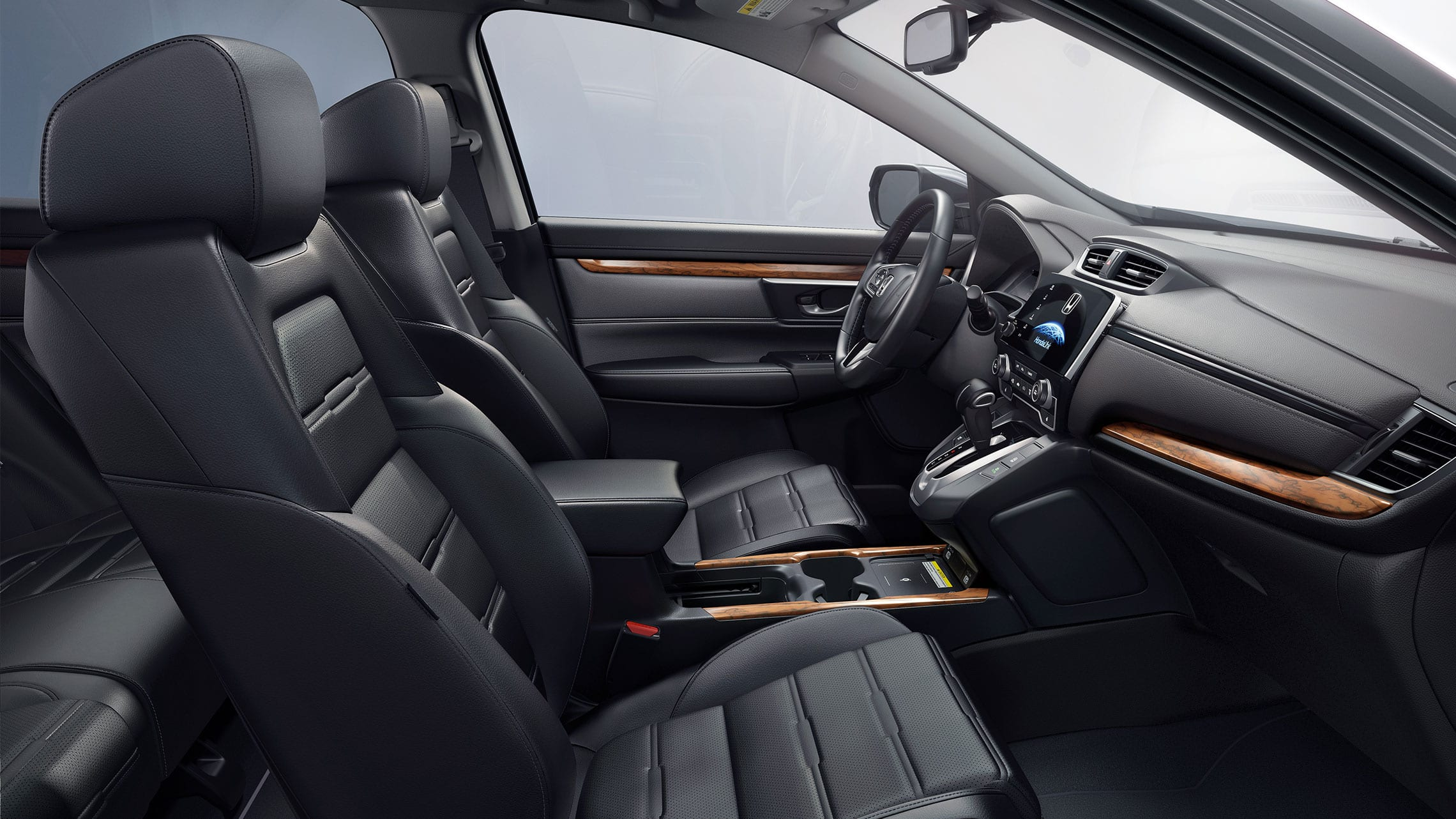Interior view of the 2020 Honda CR-V Touring with Black Leather.