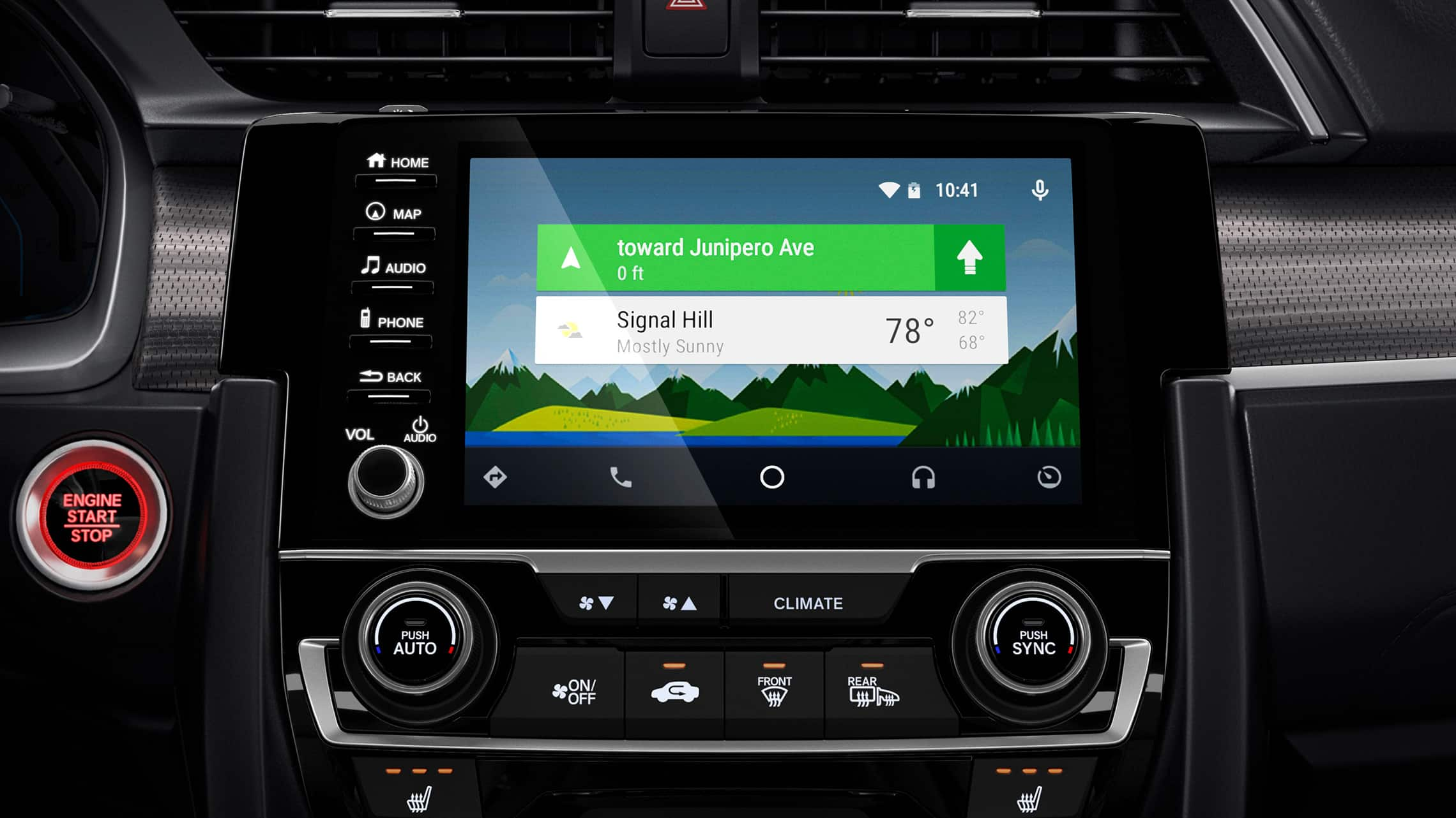 Android Auto™ integration detail on Display Audio touchscreen in the 2020 Honda Civic Coupe.