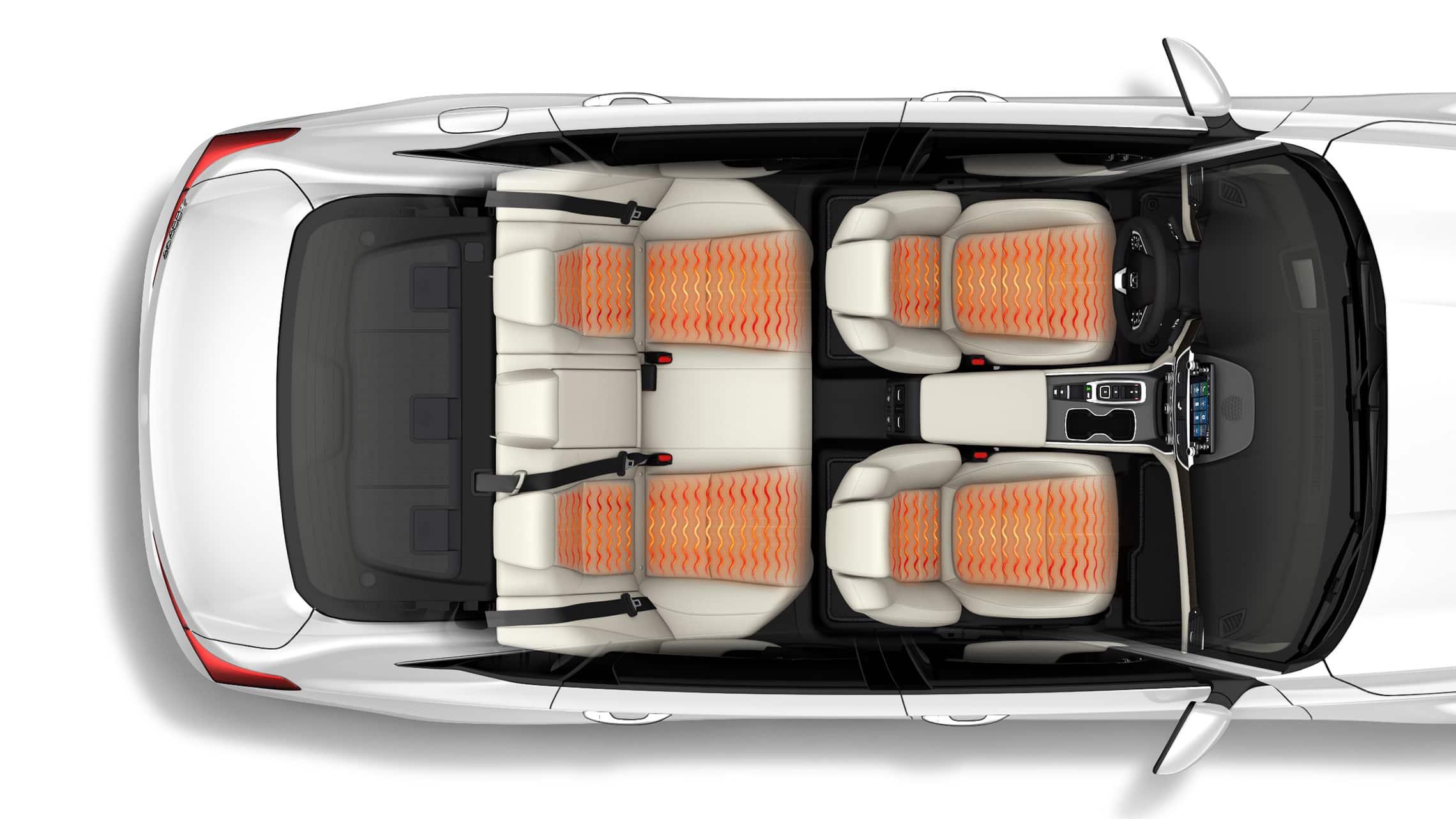 Vista interior aérea del Honda Accord Touring2.0T2021 con ondas de temperatura ilustradas que muestran asientos delanteros y asientos traseros laterales calefaccionados.